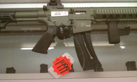 S&W M&P 15-22 in O.D. green with very optimistic pricing.