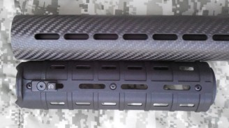 Vent size comparison: AP Customs carbon fiber handguard (top) to MagPul MOE (bottom); IWC V2 Mount-N-Slot on MOE
