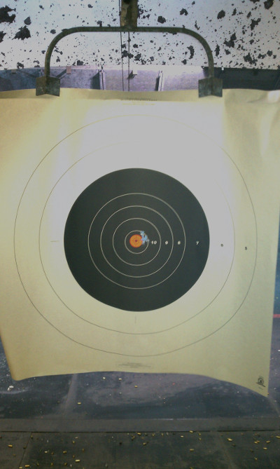 10 shot group at 10 yards with M&P 9L w/ Apex polymer FSS trigger kit